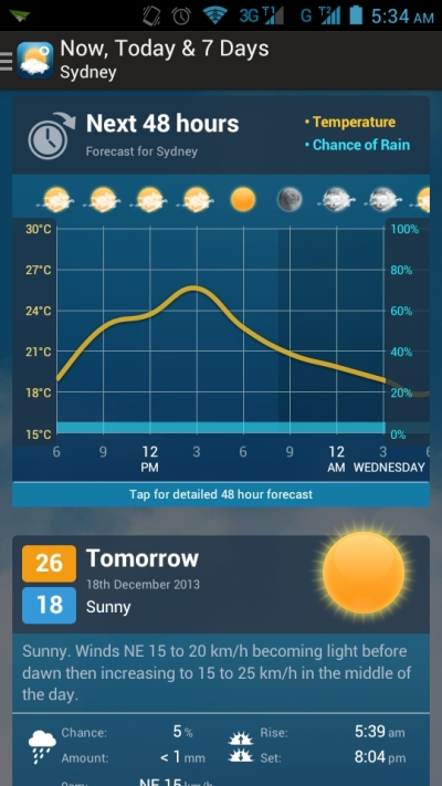 Weatherzone Android App First Screen